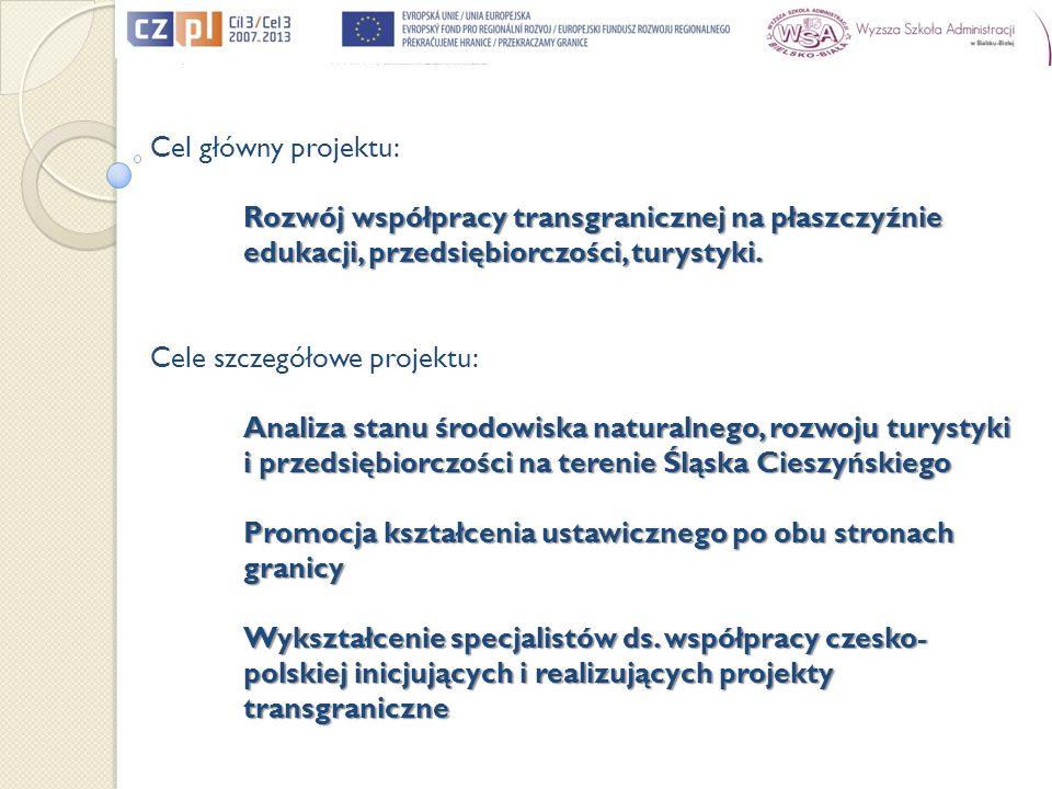 Cel główny projektu: Rozwój współpracy transgranicznej na płaszczyźnie edukacji, przedsiębiorczości, turystyki. Cele szczegółowe projektu: Analiza sta