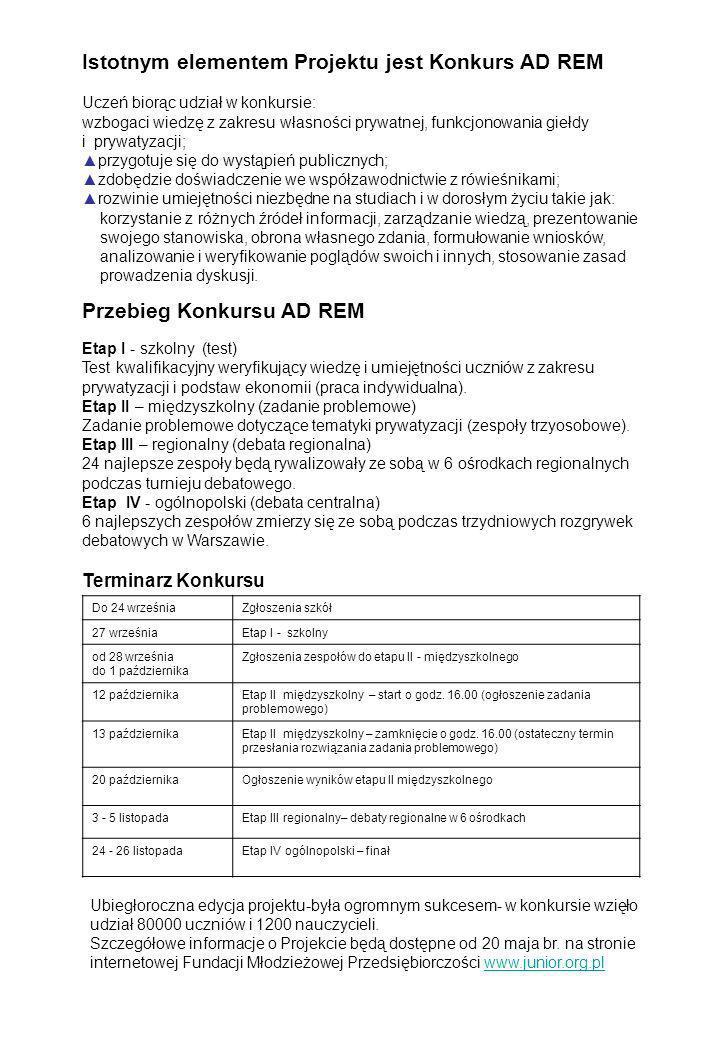 Przebieg Konkursu AD REM Etap I - szkolny (test) Test kwalifikacyjny weryfikujący wiedzę i umiejętności uczniów z zakresu prywatyzacji i podstaw ekono