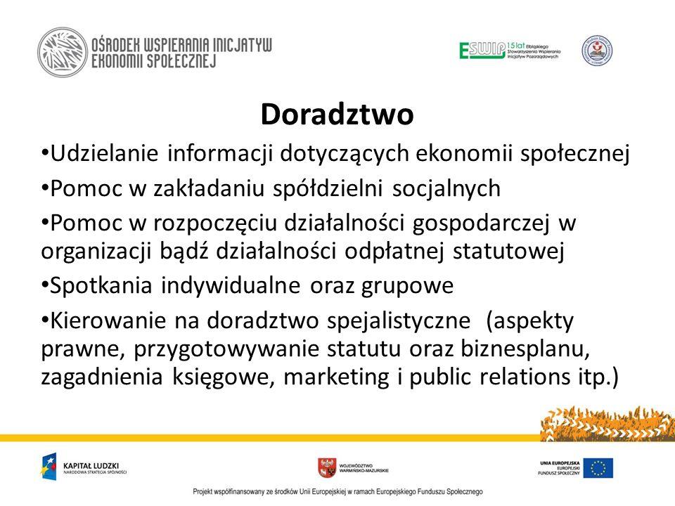 Doradztwo Udzielanie informacji dotyczących ekonomii społecznej Pomoc w zakładaniu spółdzielni socjalnych Pomoc w rozpoczęciu działalności gospodarcze