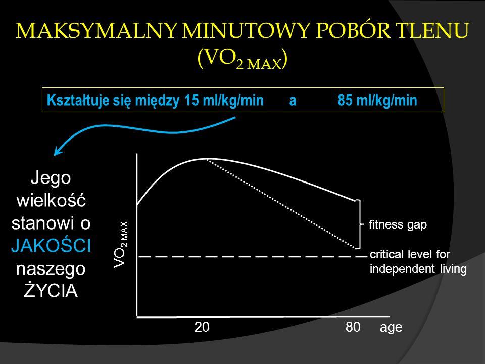 age VO 2 MAX 2080 fitness gap critical level for independent living Kształtuje się między 15 ml/kg/mina85 ml/kg/min Jego wielkość stanowi o JAKOŚCI na