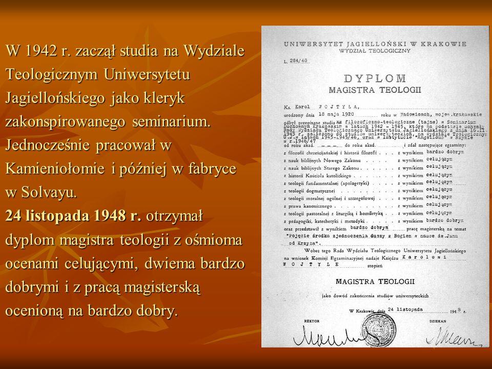 W 1942 r. zaczął studia na Wydziale Teologicznym Uniwersytetu Jagiellońskiego jako kleryk zakonspirowanego seminarium. Jednocześnie pracował w Kamieni