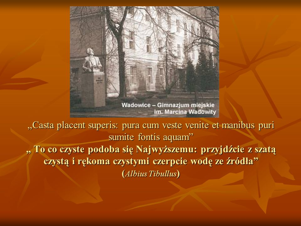Casta placent superis: pura cum veste venite et manibus puri sumite fontis aquam To co czyste podoba się Najwyższemu: przyjdźcie z szatą czystą i ręko