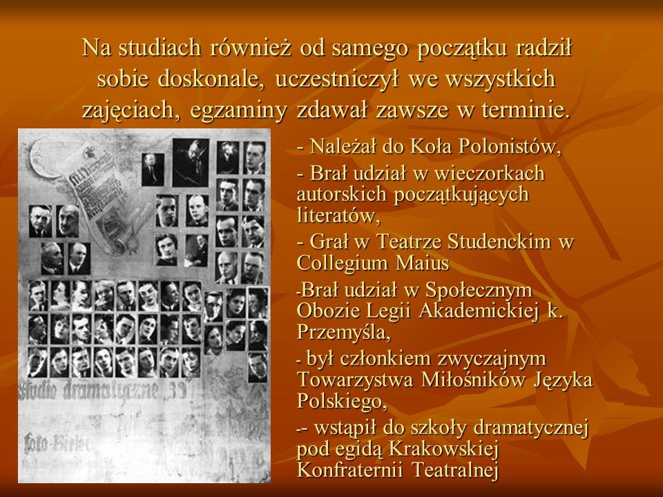 Lata okupacji - Po wybuchu wojny Karol zapisał się na II rok studiów na Wydziale Filozoficznym na filologię polską.