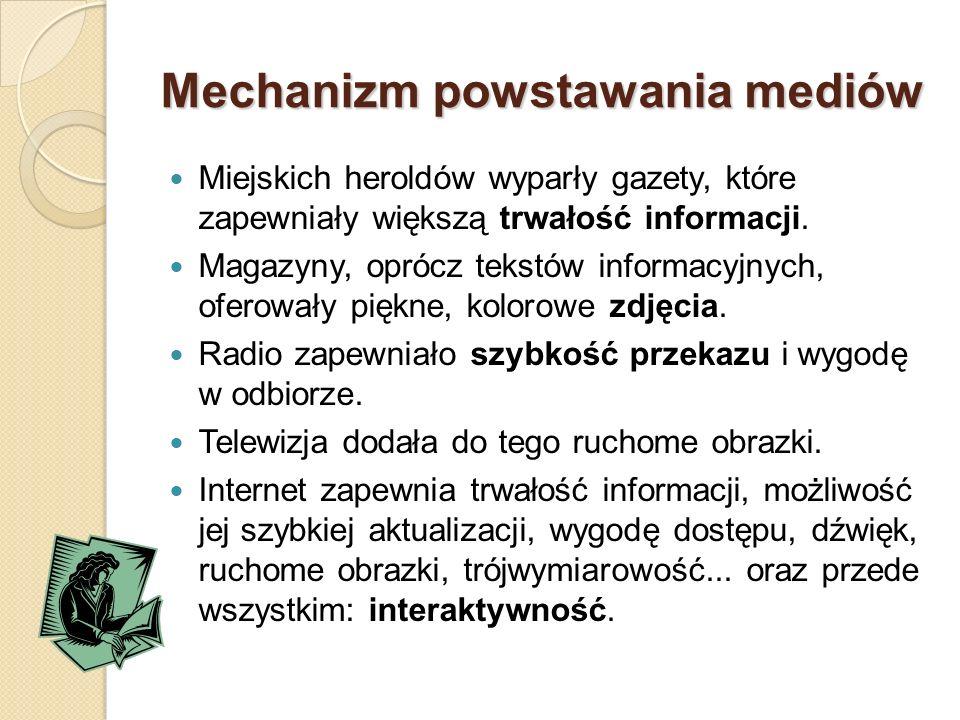 Mechanizm powstawania mediów Miejskich heroldów wyparły gazety, które zapewniały większą trwałość informacji.