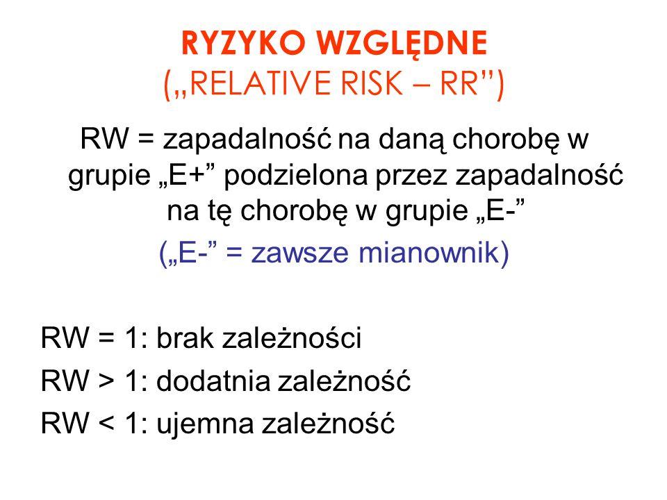 RYZYKO WZGLĘDNE (RELATIVE RISK – RR) RW = zapadalność na daną chorobę w grupie E+ podzielona przez zapadalność na tę chorobę w grupie E- (E- = zawsze