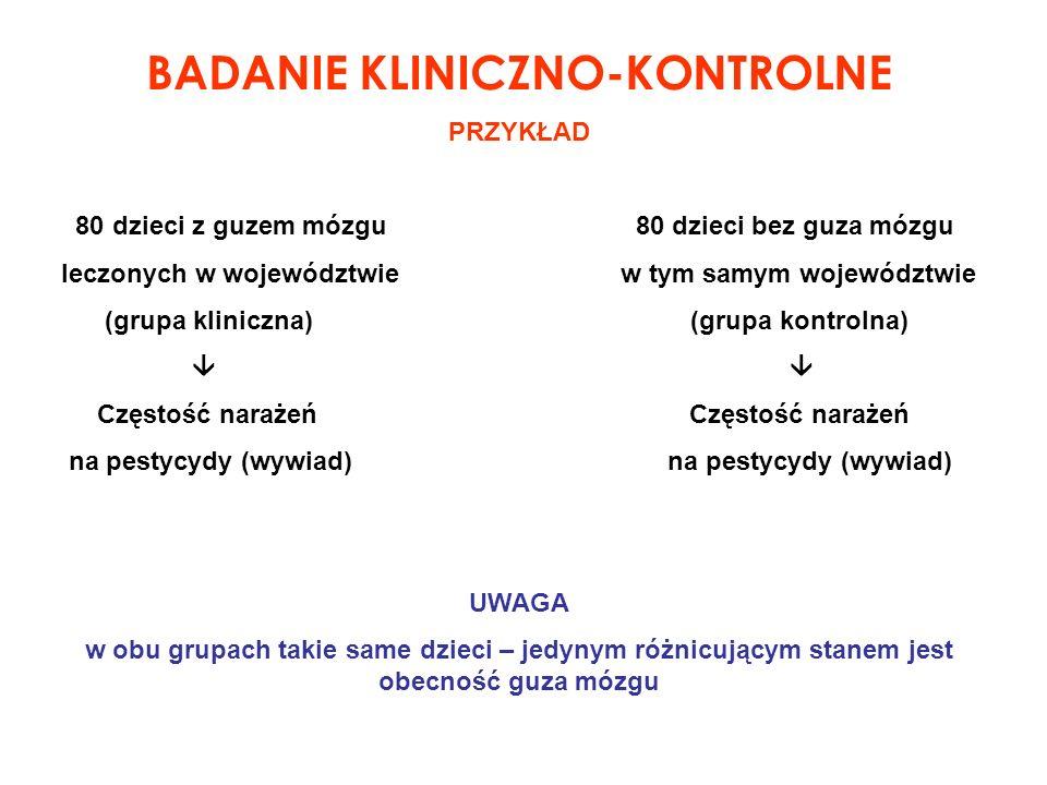 BADANIE KLINICZNO-KONTROLNE PRZYKŁAD 80 dzieci z guzem mózgu 80 dzieci bez guza mózgu leczonych w województwie w tym samym województwie (grupa klinicz