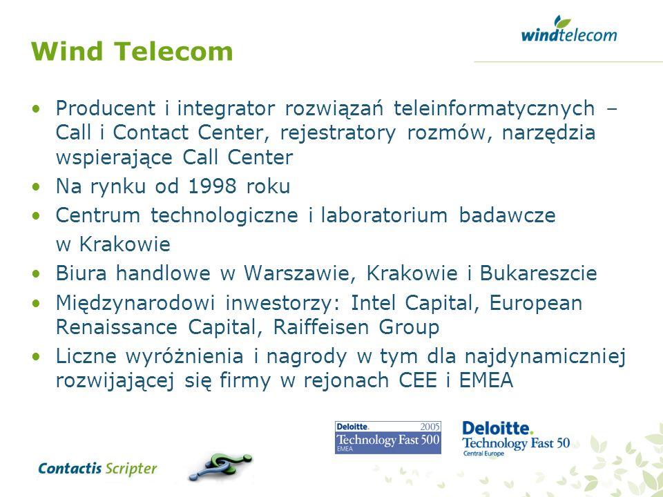 Wind Telecom Producent i integrator rozwiązań teleinformatycznych – Call i Contact Center, rejestratory rozmów, narzędzia wspierające Call Center Na r