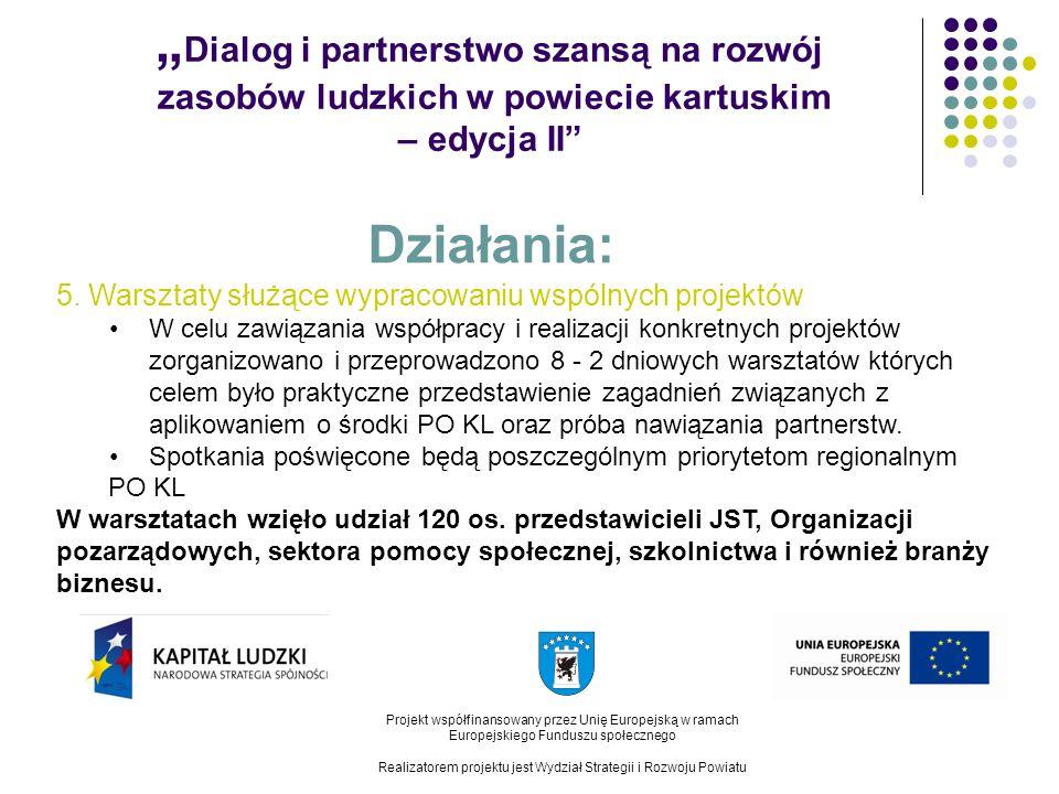 Dialog i partnerstwo szansą na rozwój zasobów ludzkich w powiecie kartuskim – edycja II Projekt współfinansowany przez Unię Europejską w ramach Europejskiego Funduszu społecznego Realizatorem projektu jest Wydział Strategii i Rozwoju Powiatu Działania: 5.