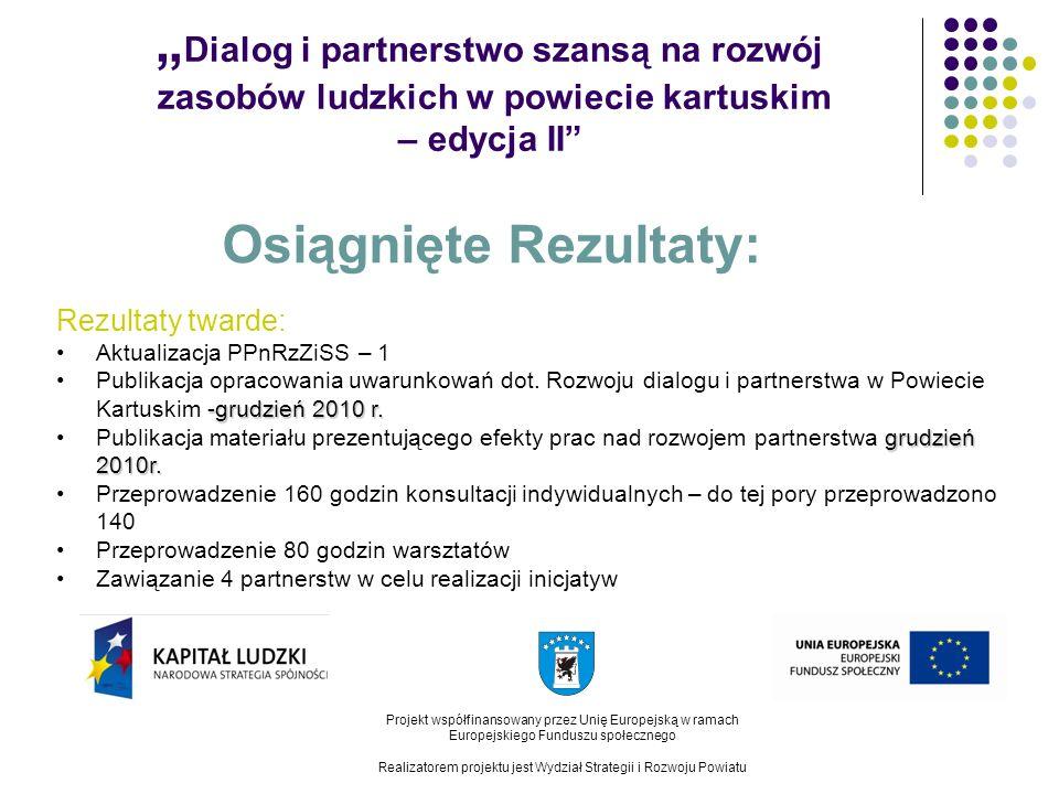 Dialog i partnerstwo szansą na rozwój zasobów ludzkich w powiecie kartuskim – edycja II Projekt współfinansowany przez Unię Europejską w ramach Europejskiego Funduszu społecznego Realizatorem projektu jest Wydział Strategii i Rozwoju Powiatu Osiągnięte Rezultaty: Rezultaty twarde: Aktualizacja PPnRzZiSS – 1 -grudzień 2010 r.Publikacja opracowania uwarunkowań dot.