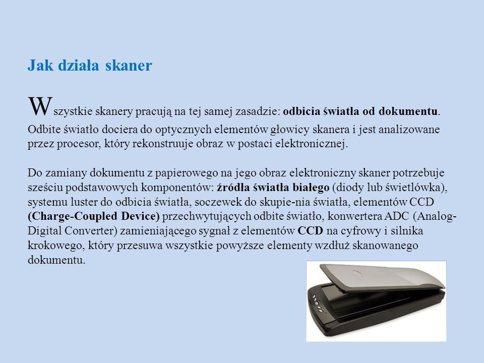 N ajbardziej znaczącym komponentem skanera są elementy CCD.