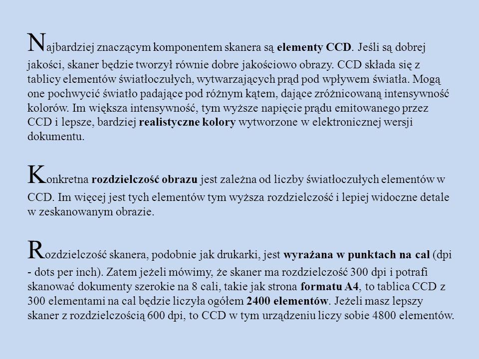 N ajbardziej znaczącym komponentem skanera są elementy CCD. Jeśli są dobrej jakości, skaner będzie tworzył równie dobre jakościowo obrazy. CCD składa
