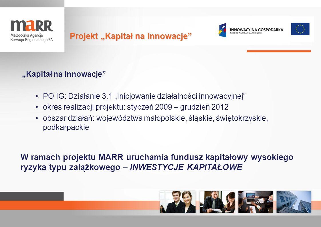 Kapitał na Innowacje PO IG: Działanie 3.1 Inicjowanie działalności innowacyjnej okres realizacji projektu: styczeń 2009 – grudzień 2012 obszar działań