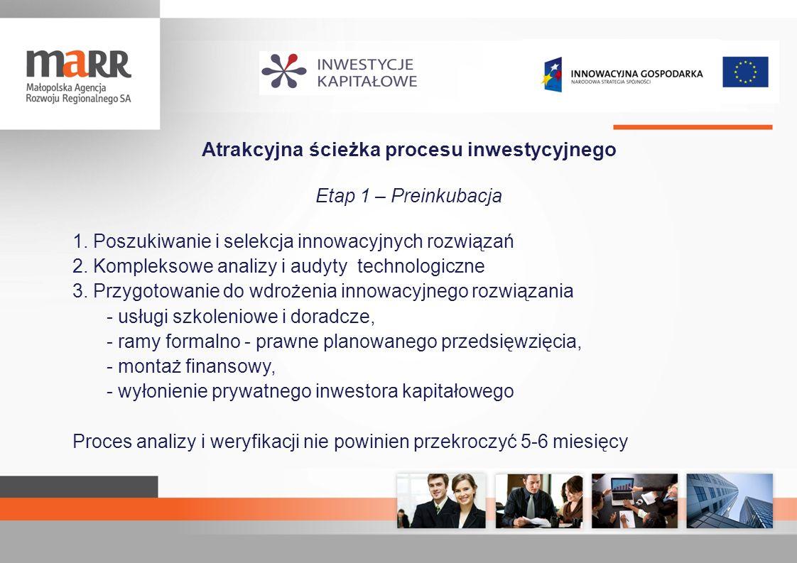 Atrakcyjna ścieżka procesu inwestycyjnego Etap 1 – Preinkubacja 1. Poszukiwanie i selekcja innowacyjnych rozwiązań 2. Kompleksowe analizy i audyty tec