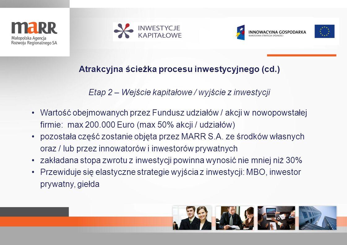 Atrakcyjna ścieżka procesu inwestycyjnego (cd.) Etap 2 – Wejście kapitałowe / wyjście z inwestycji Wartość obejmowanych przez Fundusz udziałów / akcji