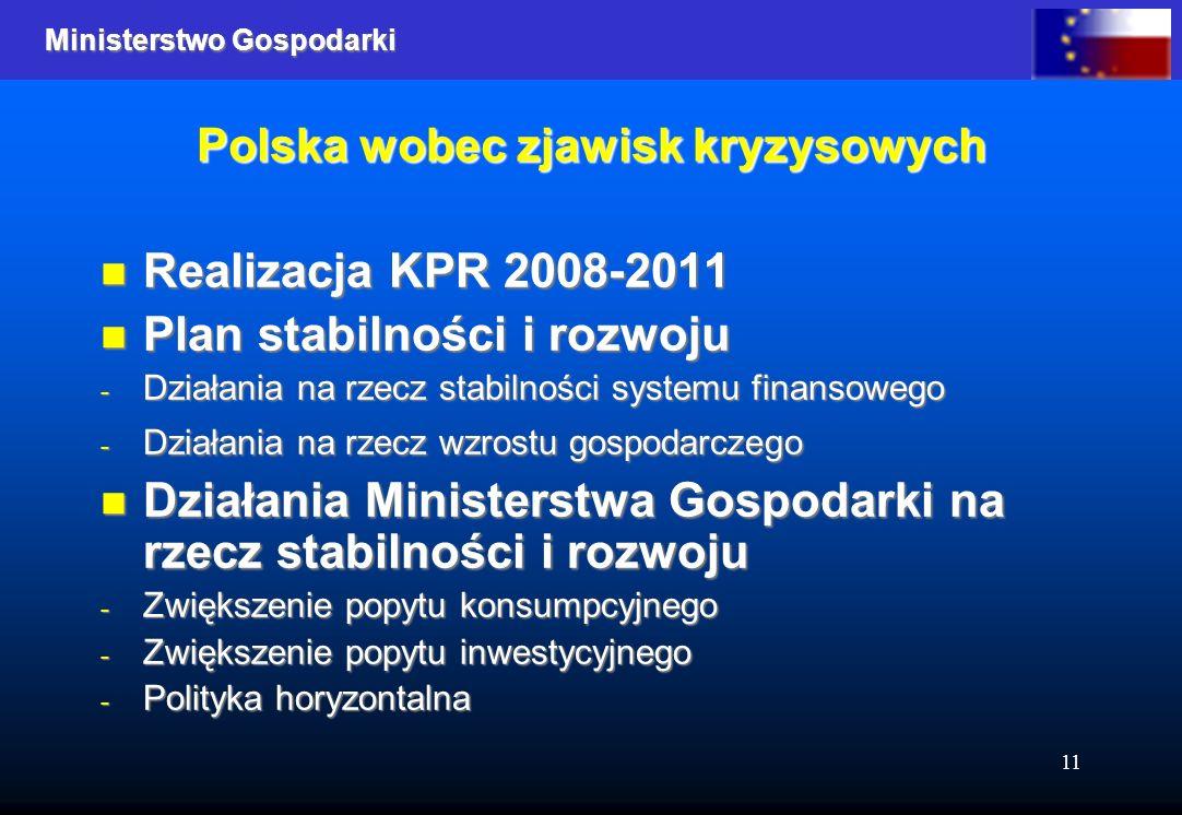 Ministerstwo Gospodarki 11 Polska wobec zjawisk kryzysowych Realizacja KPR 2008-2011 Realizacja KPR 2008-2011 Plan stabilności i rozwoju Plan stabilności i rozwoju - Działania na rzecz stabilności systemu finansowego - Działania na rzecz wzrostu gospodarczego Działania Ministerstwa Gospodarki na rzecz stabilności i rozwoju Działania Ministerstwa Gospodarki na rzecz stabilności i rozwoju - Zwiększenie popytu konsumpcyjnego - Zwiększenie popytu inwestycyjnego - Polityka horyzontalna