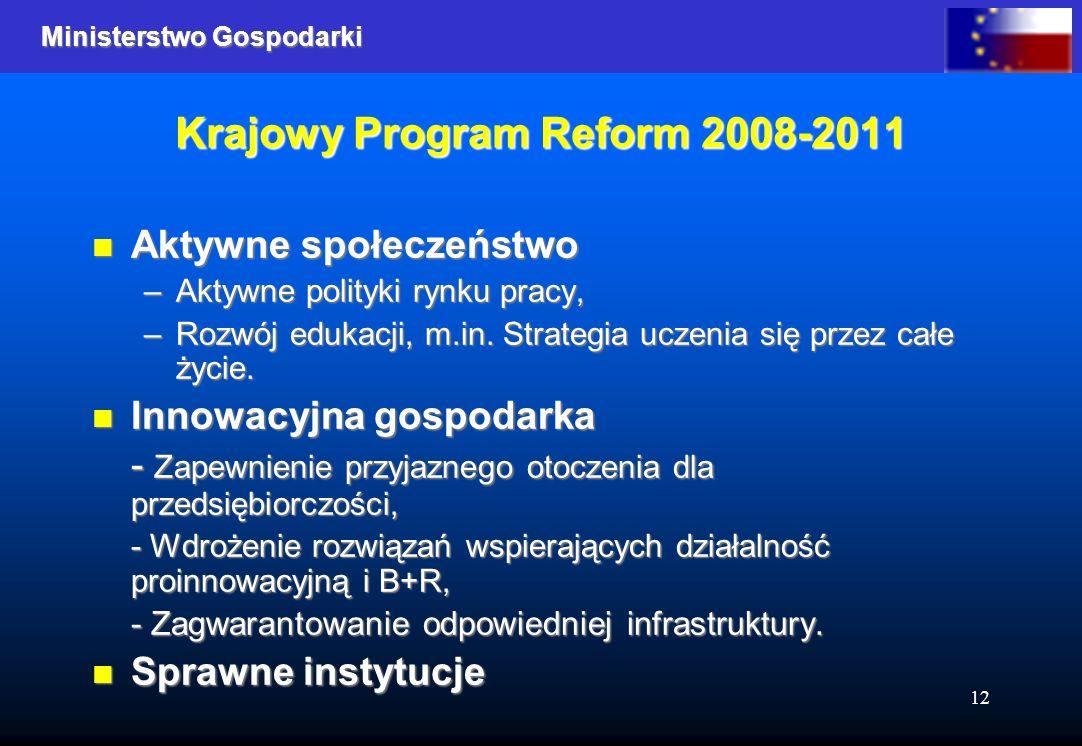 Ministerstwo Gospodarki 12 Krajowy Program Reform 2008-2011 Aktywne społeczeństwo Aktywne społeczeństwo –Aktywne polityki rynku pracy, –Rozwój edukacji, m.in.
