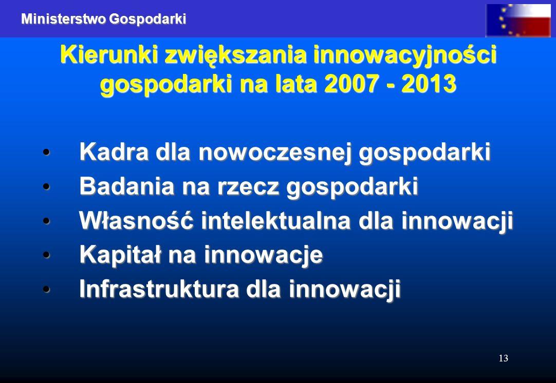Ministerstwo Gospodarki 13 Kierunki zwiększania innowacyjności gospodarki na lata 2007 - 2013 Kadra dla nowoczesnej gospodarki Kadra dla nowoczesnej gospodarki Badania na rzecz gospodarki Badania na rzecz gospodarki Własność intelektualna dla innowacji Własność intelektualna dla innowacji Kapitał na innowacje Kapitał na innowacje Infrastruktura dla innowacji Infrastruktura dla innowacji
