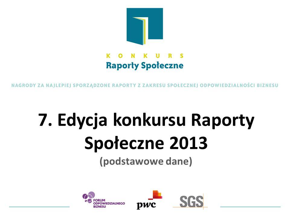 7. Edycja konkursu Raporty Społeczne 2013 (podstawowe dane)