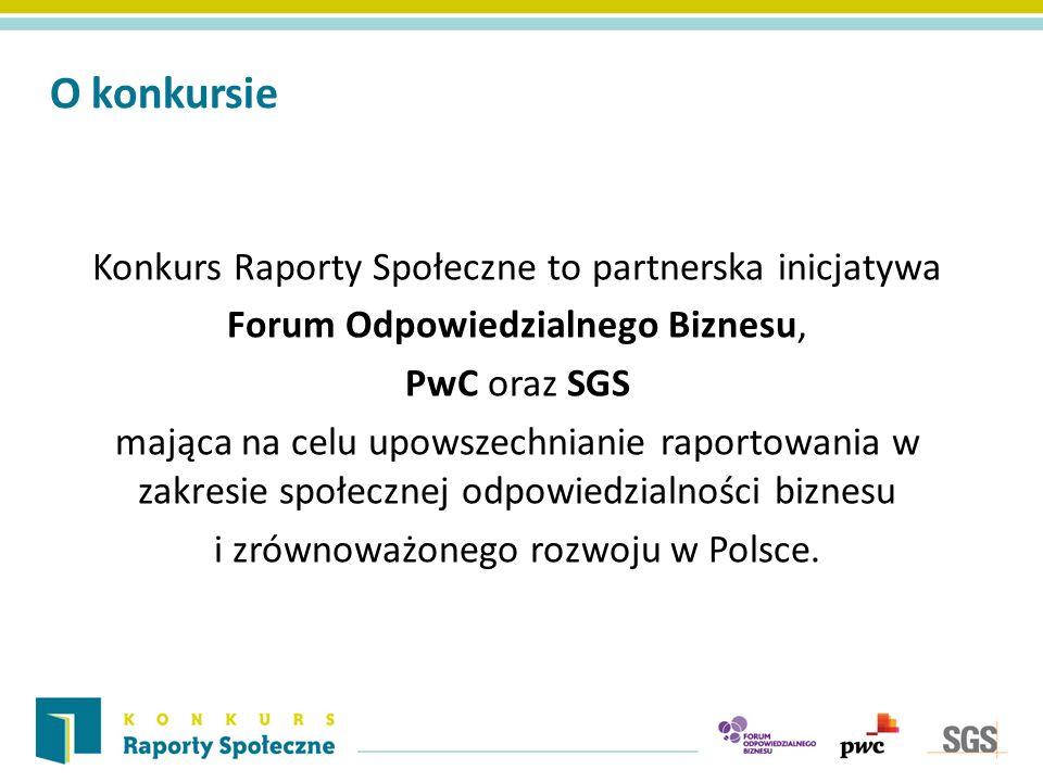 O konkursie Konkurs Raporty Społeczne to partnerska inicjatywa Forum Odpowiedzialnego Biznesu, PwC oraz SGS mająca na celu upowszechnianie raportowania w zakresie społecznej odpowiedzialności biznesu i zrównoważonego rozwoju w Polsce.