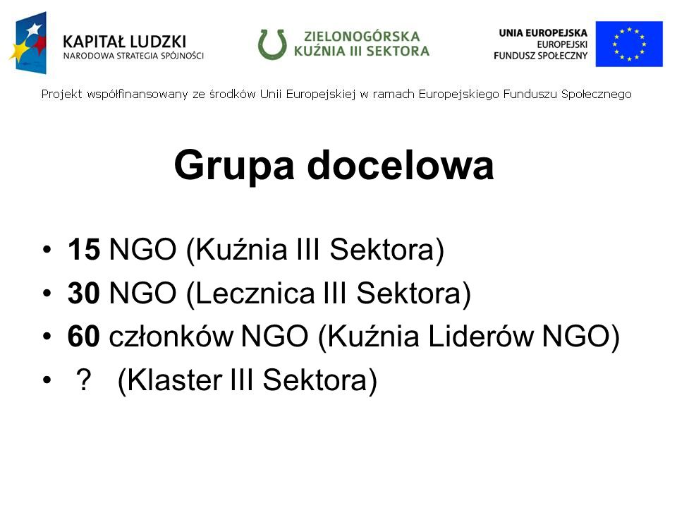 Grupa docelowa 15 NGO (Kuźnia III Sektora) 30 NGO (Lecznica III Sektora) 60 członków NGO (Kuźnia Liderów NGO) .