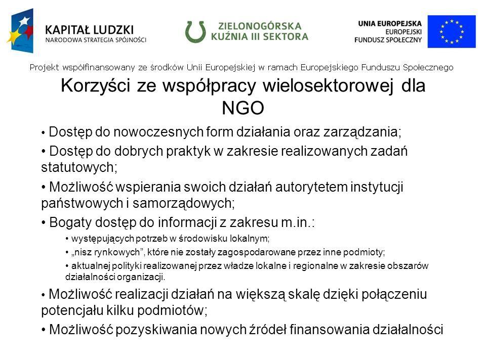 Korzyści ze współpracy wielosektorowej dla NGO Dostęp do nowoczesnych form działania oraz zarządzania; Dostęp do dobrych praktyk w zakresie realizowanych zadań statutowych; Możliwość wspierania swoich działań autorytetem instytucji państwowych i samorządowych; Bogaty dostęp do informacji z zakresu m.in.: występujących potrzeb w środowisku lokalnym; nisz rynkowych, które nie zostały zagospodarowane przez inne podmioty; aktualnej polityki realizowanej przez władze lokalne i regionalne w zakresie obszarów działalności organizacji.