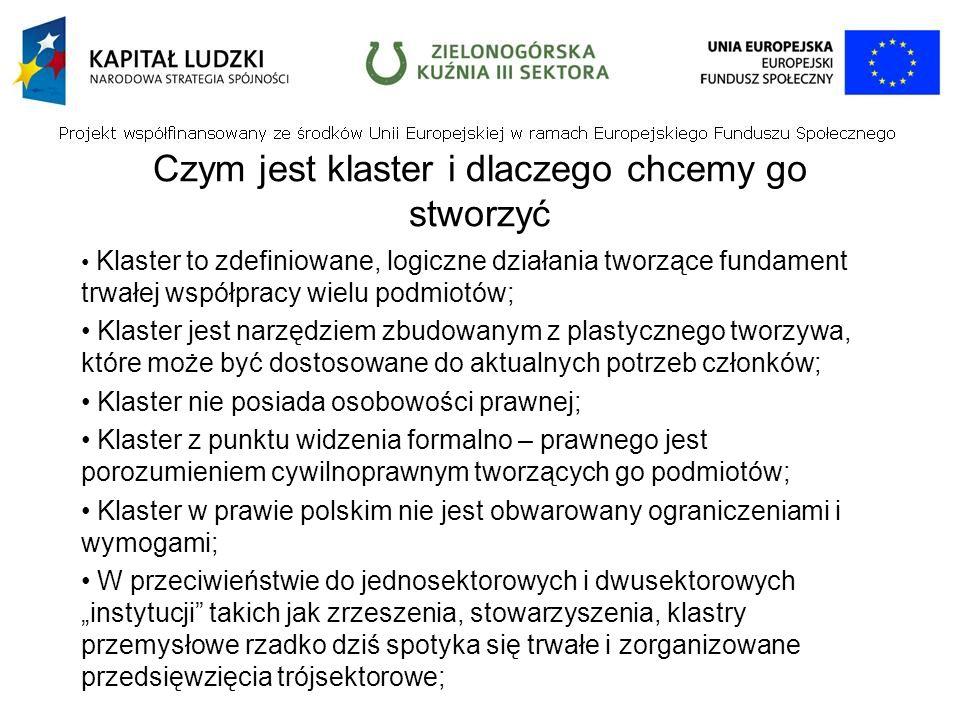 Czym jest klaster i dlaczego chcemy go stworzyć Klaster to zdefiniowane, logiczne działania tworzące fundament trwałej współpracy wielu podmiotów; Klaster jest narzędziem zbudowanym z plastycznego tworzywa, które może być dostosowane do aktualnych potrzeb członków; Klaster nie posiada osobowości prawnej; Klaster z punktu widzenia formalno – prawnego jest porozumieniem cywilnoprawnym tworzących go podmiotów; Klaster w prawie polskim nie jest obwarowany ograniczeniami i wymogami; W przeciwieństwie do jednosektorowych i dwusektorowych instytucji takich jak zrzeszenia, stowarzyszenia, klastry przemysłowe rzadko dziś spotyka się trwałe i zorganizowane przedsięwzięcia trójsektorowe;