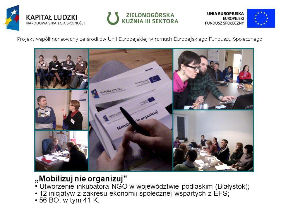 Mobilizuj nie organizuj Utworzenie inkubatora NGO w województwie podlaskim (Białystok); 12 inicjatyw z zakresu ekonomii społecznej wspartych z EFS; 56 BO, w tym 41 K.