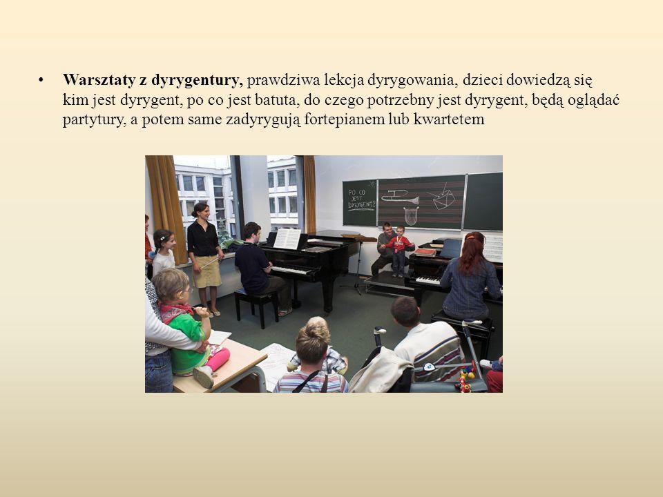 Warsztaty z dyrygentury, prawdziwa lekcja dyrygowania, dzieci dowiedzą się kim jest dyrygent, po co jest batuta, do czego potrzebny jest dyrygent, będ