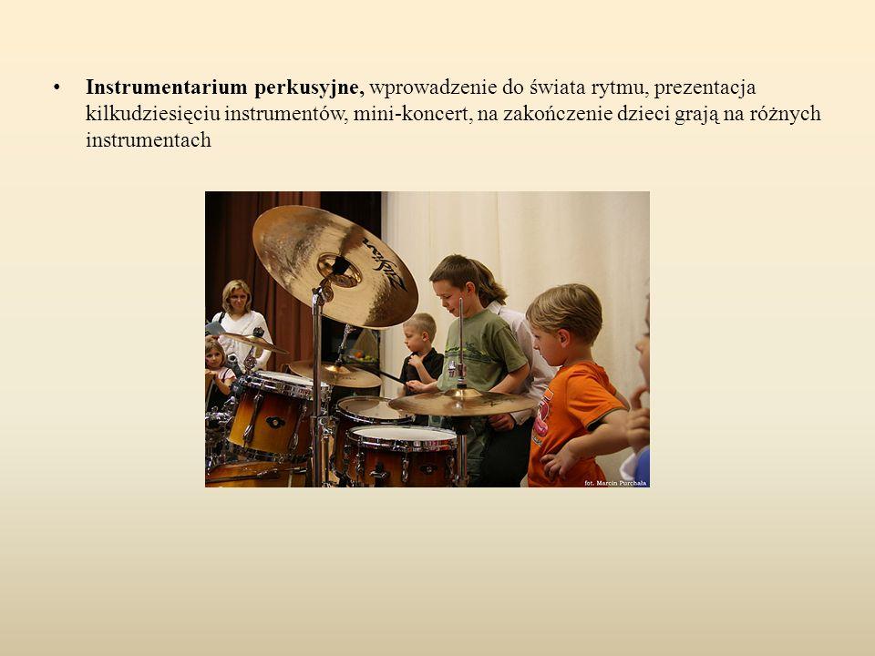 Instrumentarium perkusyjne, wprowadzenie do świata rytmu, prezentacja kilkudziesięciu instrumentów, mini-koncert, na zakończenie dzieci grają na różny