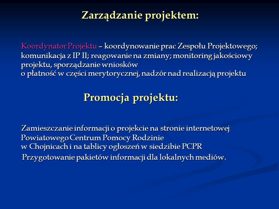 Zarządzanie projektem: Zarządzanie projektem: Koordynator Projektu – koordynowanie prac Zespołu Projektowego; komunikacja z IP II; reagowanie na zmiany; monitoring jakościowy projektu, sporządzanie wniosków o płatność w części merytorycznej, nadzór nad realizacją projektu Koordynator Projektu – koordynowanie prac Zespołu Projektowego; komunikacja z IP II; reagowanie na zmiany; monitoring jakościowy projektu, sporządzanie wniosków o płatność w części merytorycznej, nadzór nad realizacją projektu Promocja projektu: Promocja projektu: Zamieszczanie informacji o projekcie na stronie internetowej Powiatowego Centrum Pomocy Rodzinie w Chojnicach i na tablicy ogłoszeń w siedzibie PCPR Zamieszczanie informacji o projekcie na stronie internetowej Powiatowego Centrum Pomocy Rodzinie w Chojnicach i na tablicy ogłoszeń w siedzibie PCPR Przygotowanie pakietów informacji dla lokalnych mediów.