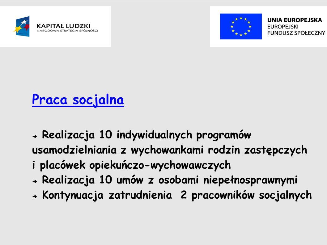 Praca socjalna Realizacja 10 indywidualnych programów usamodzielniania z wychowankami rodzin zastępczych i placówek opiekuńczo-wychowawczych Realizacja 10 umów z osobami niepełnosprawnymi Kontynuacja zatrudnienia 2 pracowników socjalnych