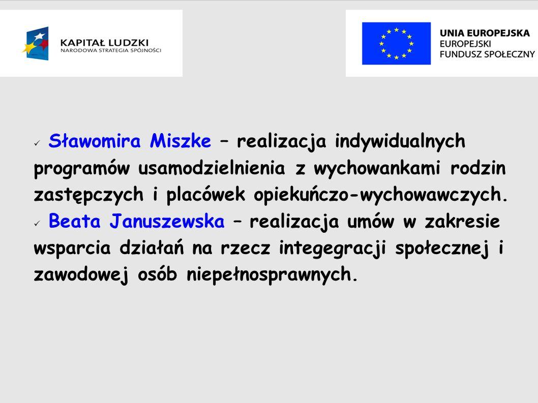 Sławomira Miszke – realizacja indywidualnych programów usamodzielnienia z wychowankami rodzin zastępczych i placówek opiekuńczo-wychowawczych.