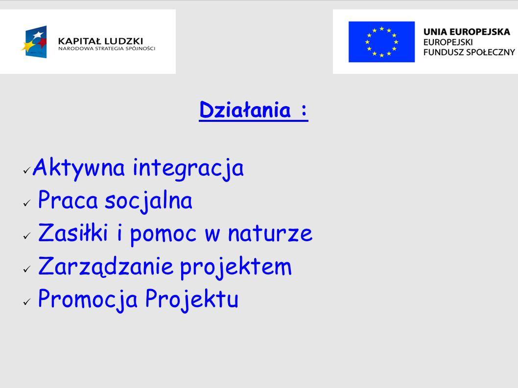Działania : Aktywna integracja Praca socjalna Zasiłki i pomoc w naturze Zarządzanie projektem Promocja Projektu