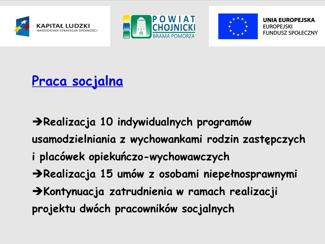 Praca socjalna Realizacja 10 indywidualnych programów usamodzielniania z wychowankami rodzin zastępczych i placówek opiekuńczo-wychowawczych Realizacj