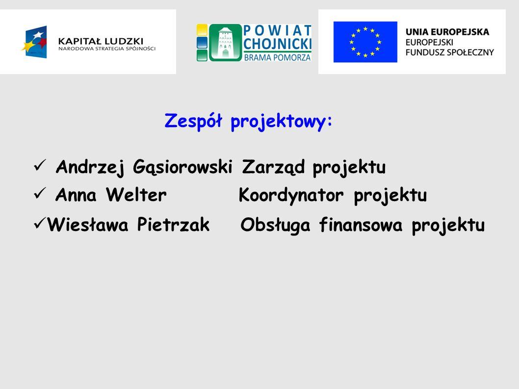 Zespół projektowy: Andrzej Gąsiorowski Zarząd projektu Anna Welter Koordynator projektu Wiesława PietrzakObsługa finansowa projektu