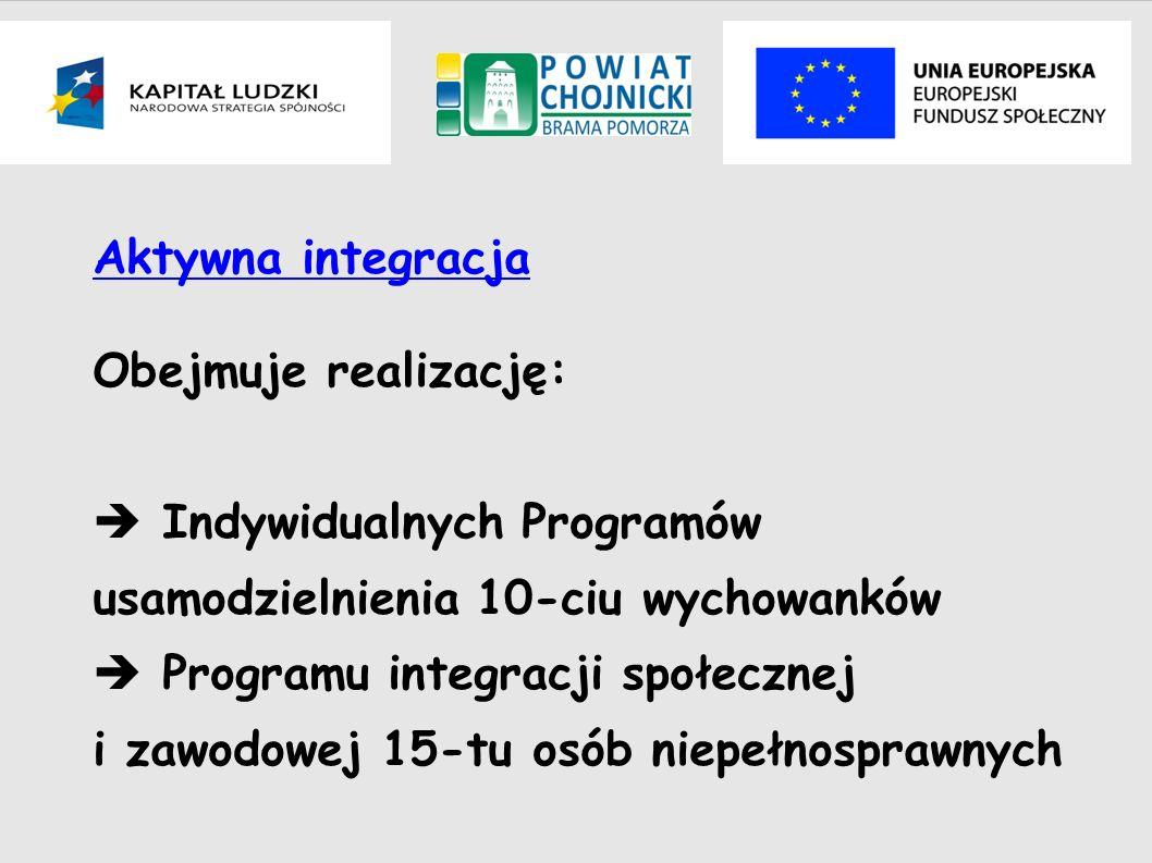 Aktywna integracja Obejmuje realizację: Indywidualnych Programów usamodzielnienia 10-ciu wychowanków Programu integracji społecznej i zawodowej 15-tu
