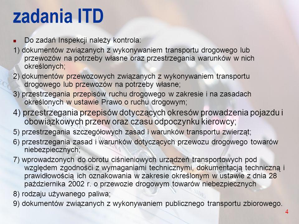 4 zadania ITD Do zadań Inspekcji należy kontrola: 1) dokumentów związanych z wykonywaniem transportu drogowego lub przewozów na potrzeby własne oraz p