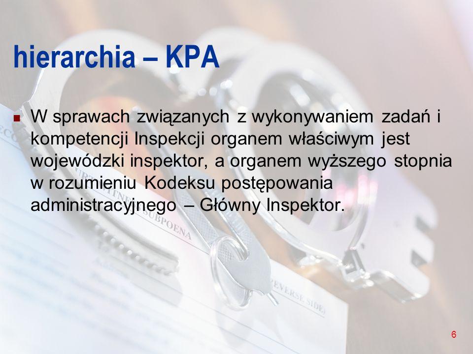 6 hierarchia – KPA W sprawach związanych z wykonywaniem zadań i kompetencji Inspekcji organem właściwym jest wojewódzki inspektor, a organem wyższego