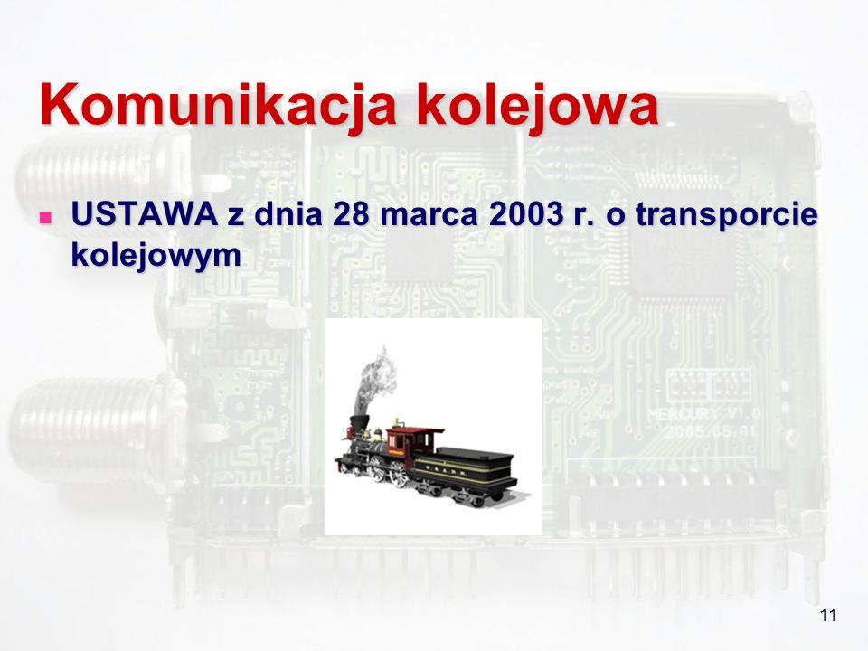 11 Komunikacja kolejowa USTAWA z dnia 28 marca 2003 r. o transporcie kolejowym USTAWA z dnia 28 marca 2003 r. o transporcie kolejowym