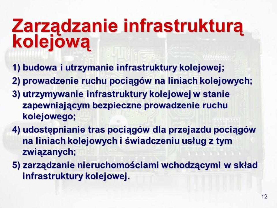12 Zarządzanie infrastrukturą kolejową 1) budowa i utrzymanie infrastruktury kolejowej; 2) prowadzenie ruchu pociągów na liniach kolejowych; 3) utrzym