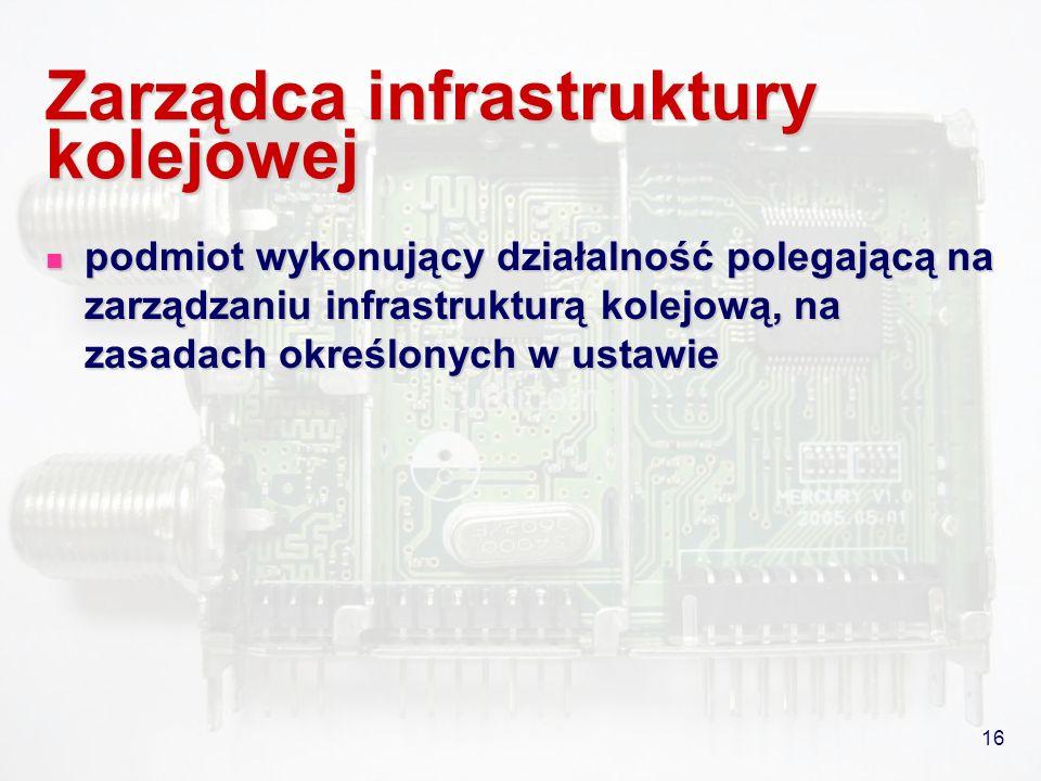 16 Zarządca infrastruktury kolejowej podmiot wykonujący działalność polegającą na zarządzaniu infrastrukturą kolejową, na zasadach określonych w ustaw