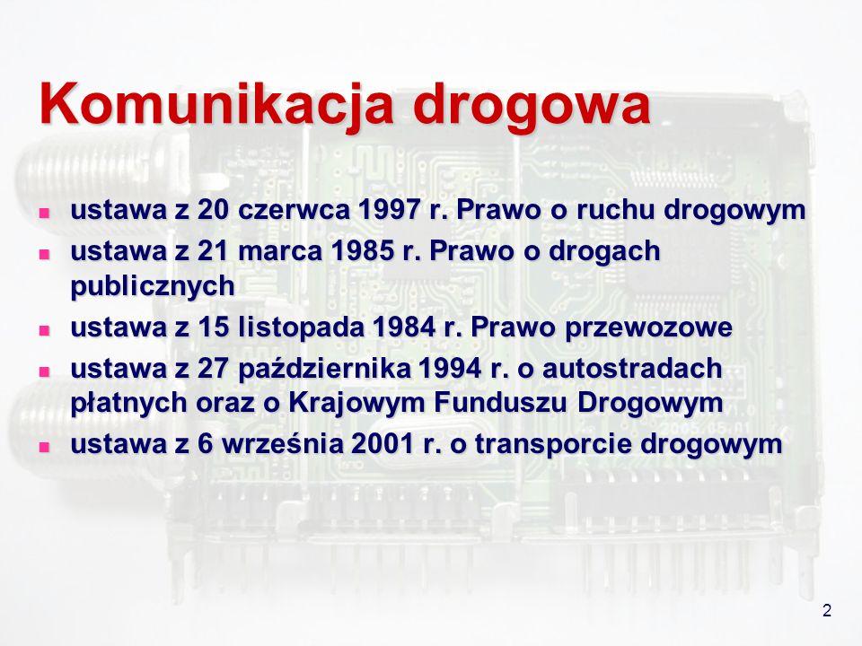 2 Komunikacja drogowa ustawa z 20 czerwca 1997 r. Prawo o ruchu drogowym ustawa z 20 czerwca 1997 r. Prawo o ruchu drogowym ustawa z 21 marca 1985 r.