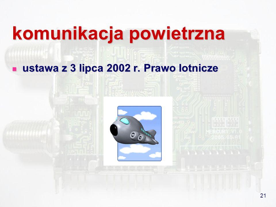 21 komunikacja powietrzna ustawa z 3 lipca 2002 r. Prawo lotnicze ustawa z 3 lipca 2002 r. Prawo lotnicze