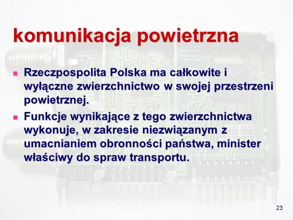 23 komunikacja powietrzna Rzeczpospolita Polska ma całkowite i wyłączne zwierzchnictwo w swojej przestrzeni powietrznej. Rzeczpospolita Polska ma całk
