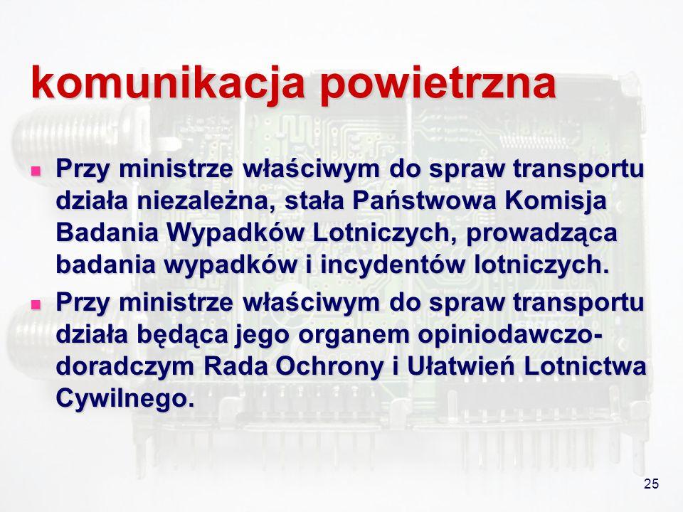 25 komunikacja powietrzna Przy ministrze właściwym do spraw transportu działa niezależna, stała Państwowa Komisja Badania Wypadków Lotniczych, prowadz