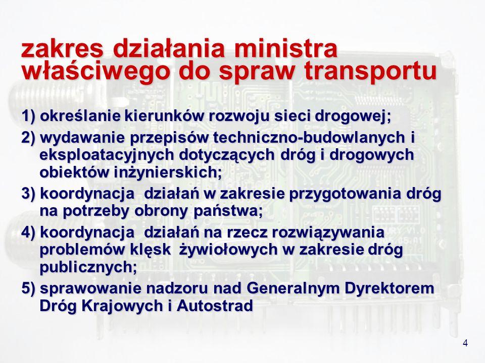 4 zakres działania ministra właściwego do spraw transportu 1) określanie kierunków rozwoju sieci drogowej; 2) wydawanie przepisów techniczno-budowlany