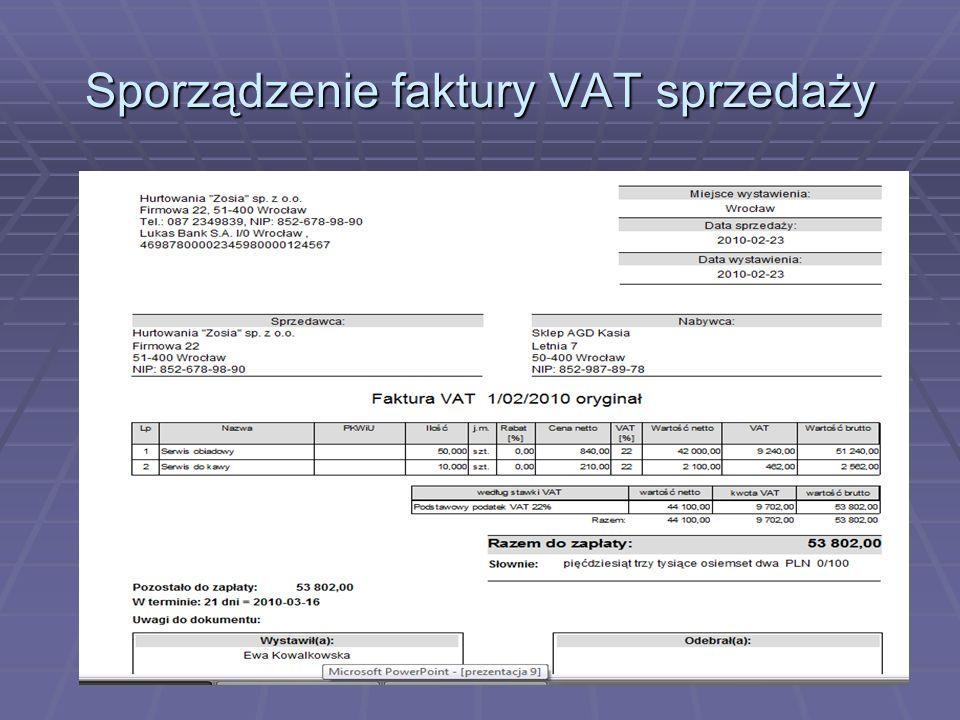 Sporządzenie faktury VAT sprzedaży