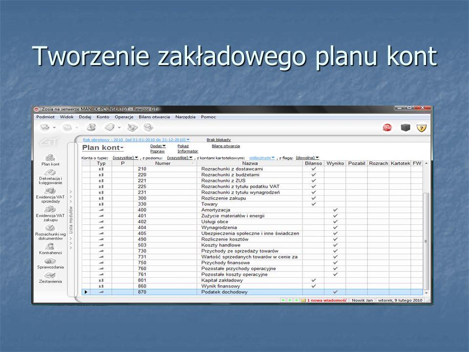 Sporządzenie bilansu otwarcia W module Plan kont wybierz opcję Bilans otwarcia, a następnie: W module Plan kont wybierz opcję Bilans otwarcia, a następnie: Wybierz opcję Wczytaj wszystkie konta bilansowe, Wybierz opcję Wczytaj wszystkie konta bilansowe, Wprowadź ręcznie salda początkowe (Wn – konta aktywne, Wprowadź ręcznie salda początkowe (Wn – konta aktywne, Ma – konta pasywne), Sprawdź poprawność sumy bilansowej, Sprawdź poprawność sumy bilansowej, Wybierz funkcję Zapisz.