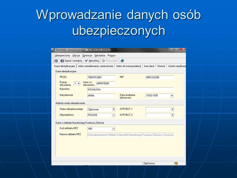 Po otwarciu rejestru ubezpieczonych wprowadź dane płatnika składek.