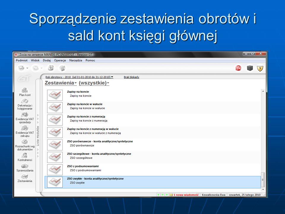 - w oknie dialogowym ZSO zaznacz wybierz konto, - w oknie dialogowym Parametr zakres kont wybierz opcję Wszystkie, - dokonany wybór zatwierdź, klikając OK,